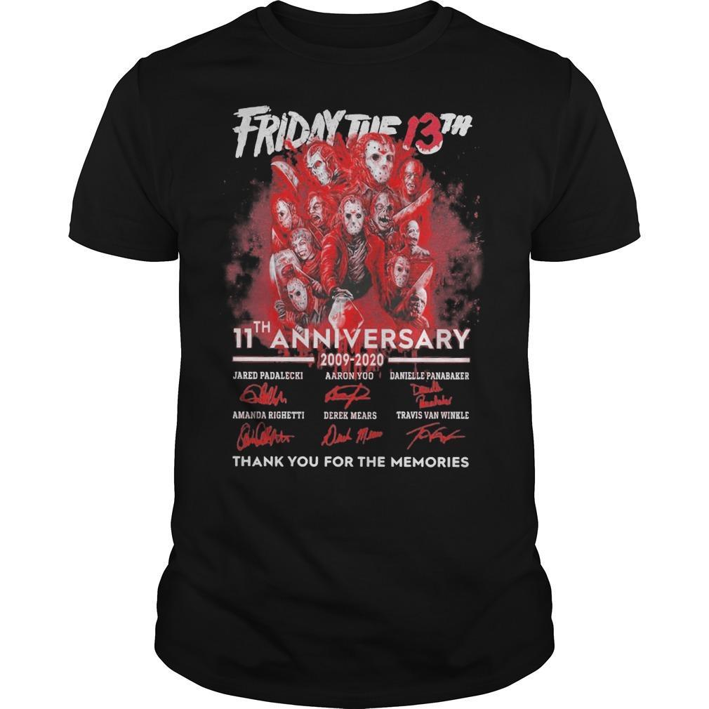 Friday The 13th 11th Anniversary 2009 2020 Thank You For The Memories Shirt