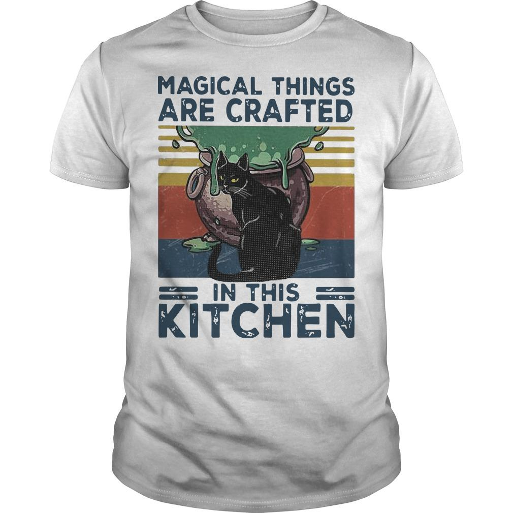 Vintage Black Cat Magical Things Are Crafted In This Kitchen Shirt
