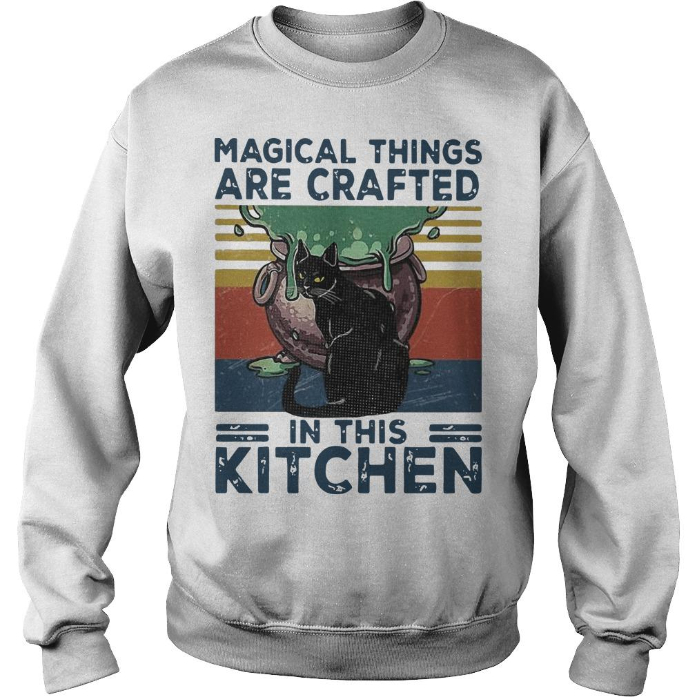 Vintage Black Cat Magical Things Are Crafted In This Kitchen Sweater
