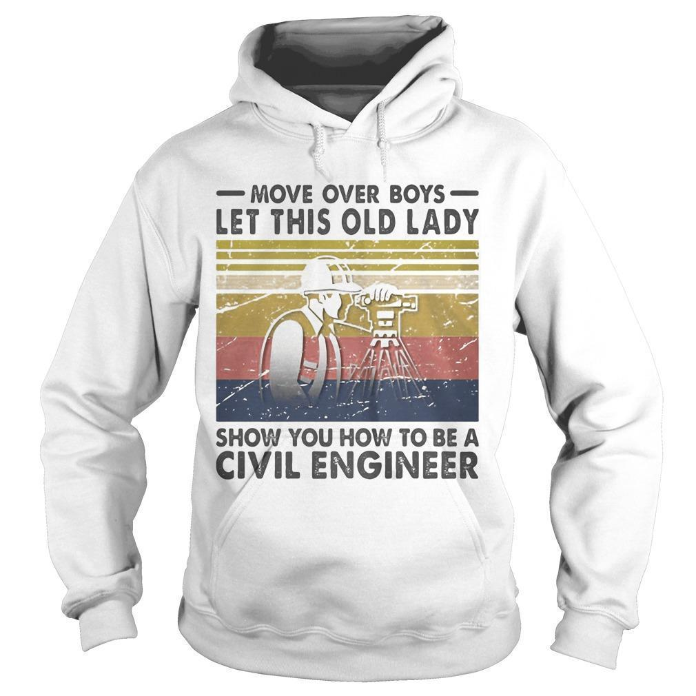 Vintage Boys Let This Old Lady Show You How To Be A Civil Engineer Hoodie