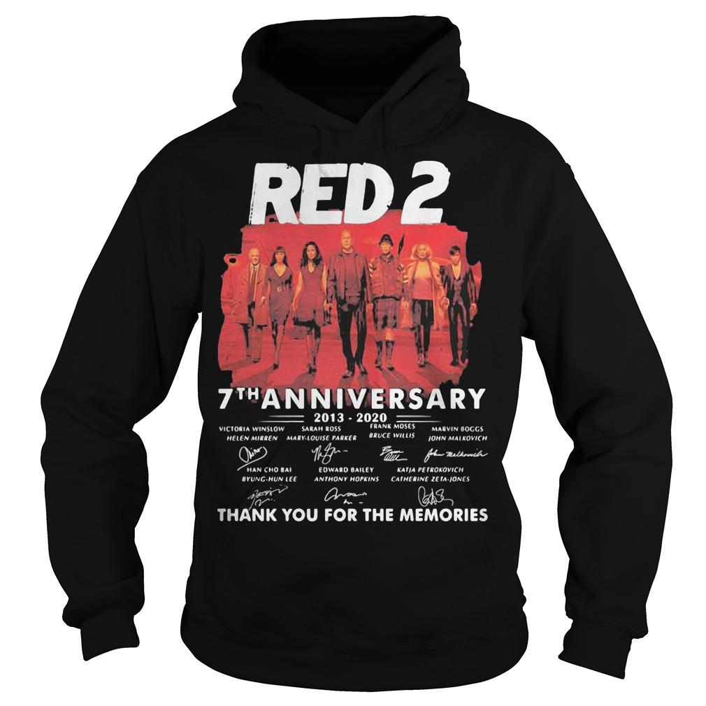 Red 2 7th Anniversary 2013 2020 Thank For The Memories Signatures Hoodie