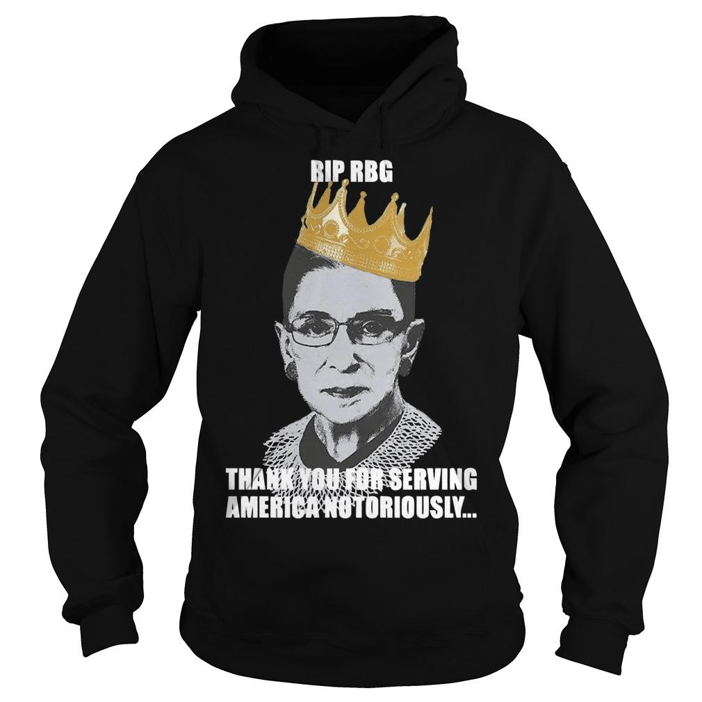 Ruth Bader Ginsburg Rip Rbg Thank You For Serving America Notorious Hoodie
