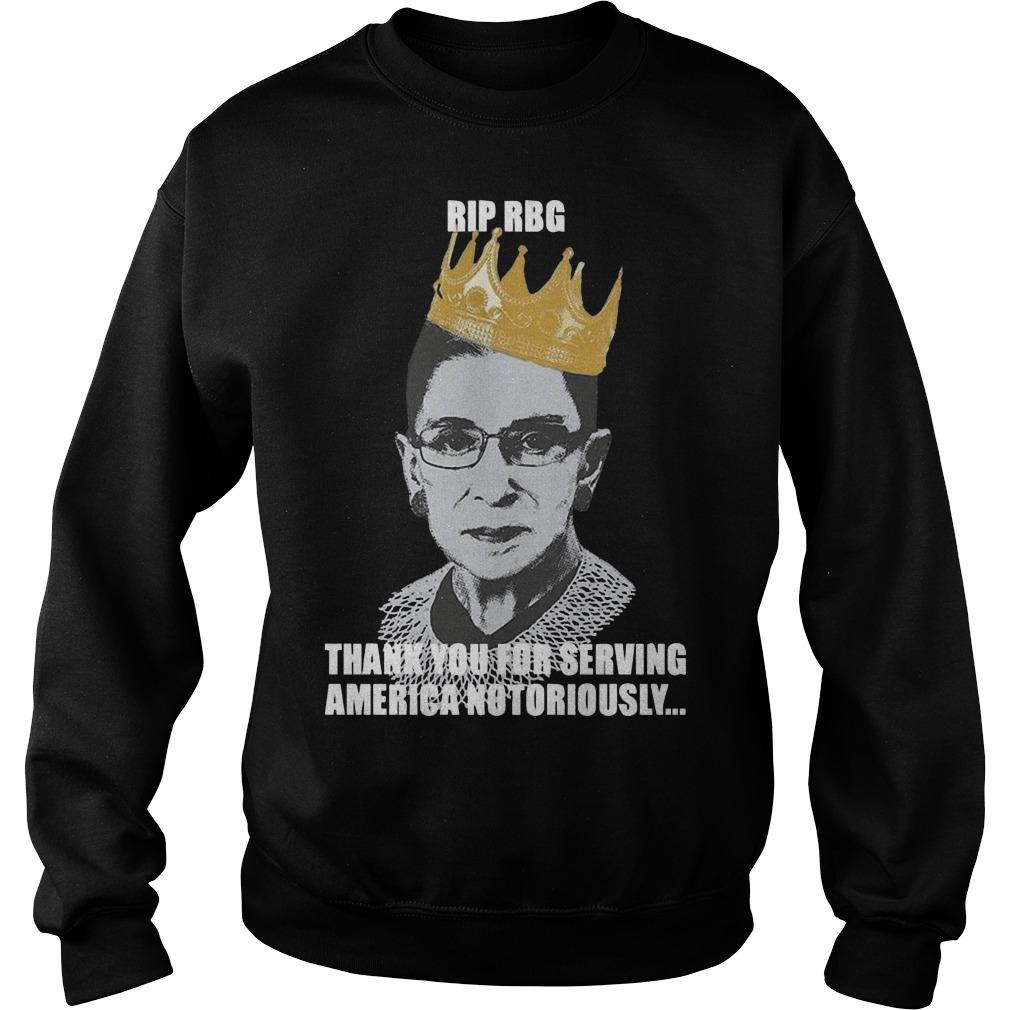 Ruth Bader Ginsburg Rip Rbg Thank You For Serving America Notorious Sweater