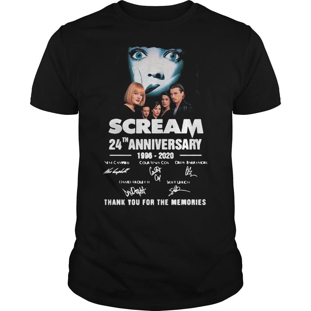 Scream 24th Anniversary 1996 2020 Thank You For The Memories Signature Shirt