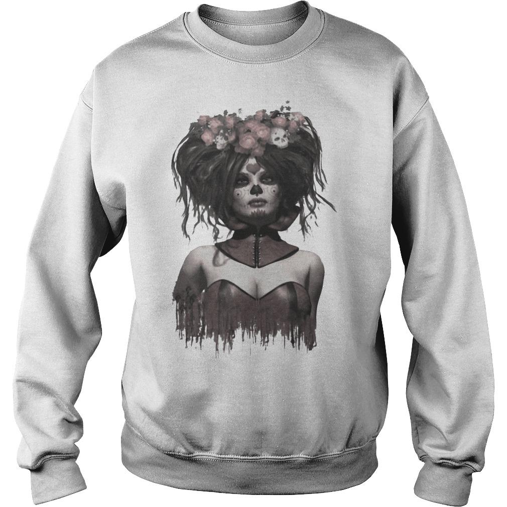 Skeleton Lady Sugar Doll Day Of The Dead Sweater