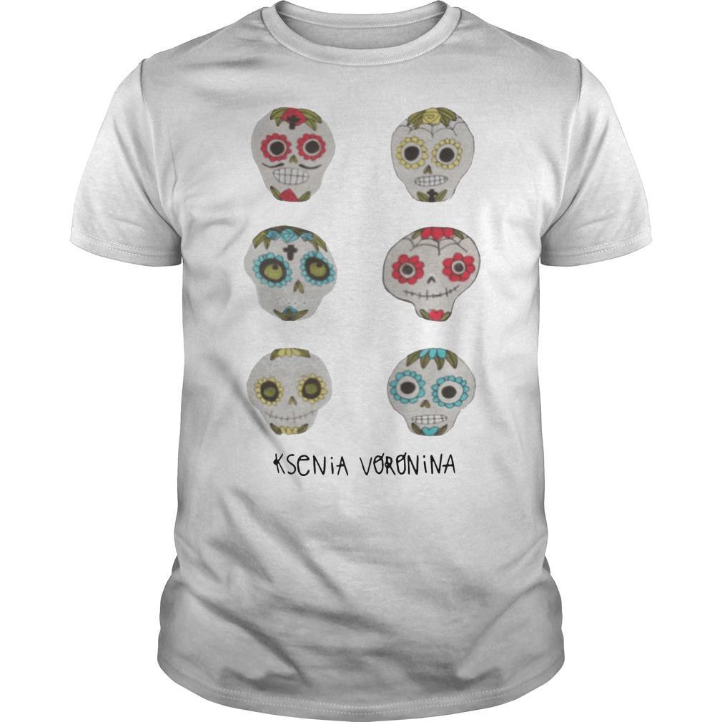 Skulls Dia De Los Muertos Day Of Dead Ksenia Voronina Shirt