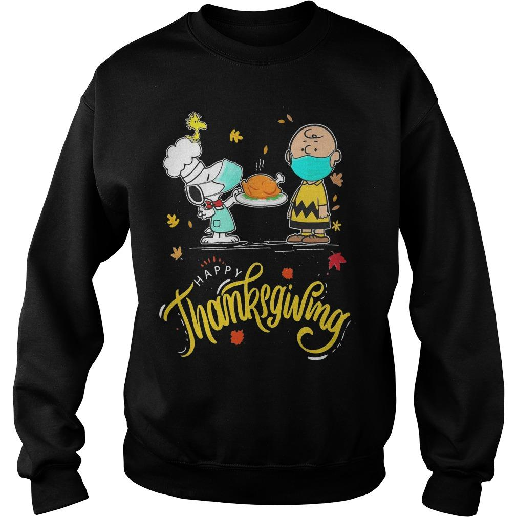 Snoopy And Charlie Brown Face Mask Happy Thanksgiving Sweater