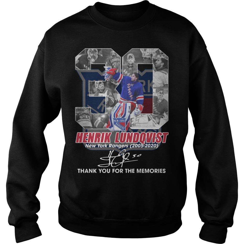 30 Henrik Lundqvist New York Rangers Thank You For The Memories Signature Sweater