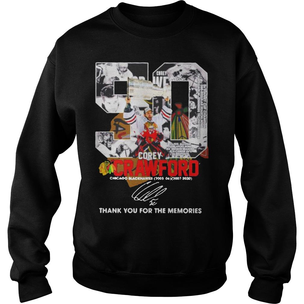 50 Corey Crawford Chicago Blackhawks Thank You For The Memories Sweater