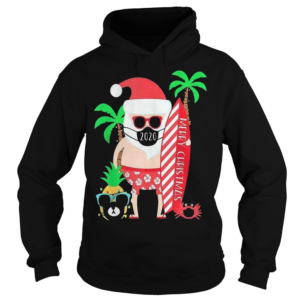 Christmas Surfing Santa With Mask Hoodie