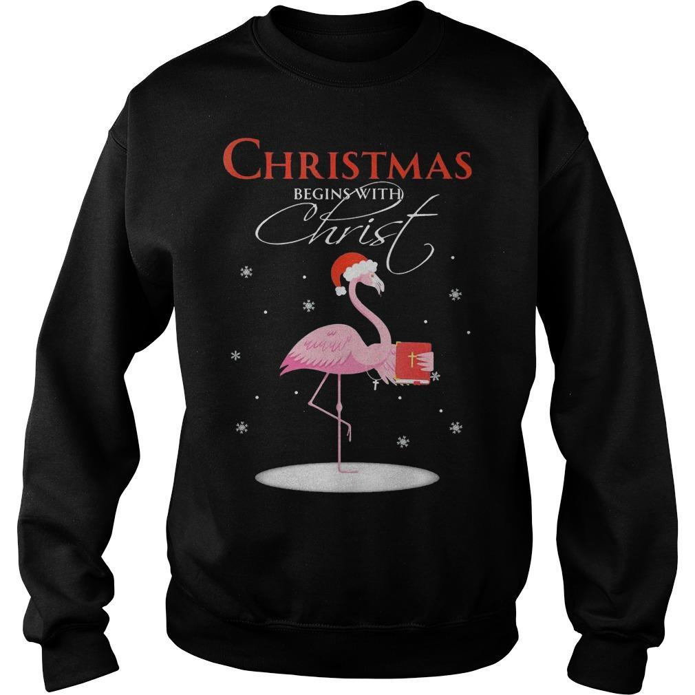 Flamingo Christmas Begins With Christ Sweater