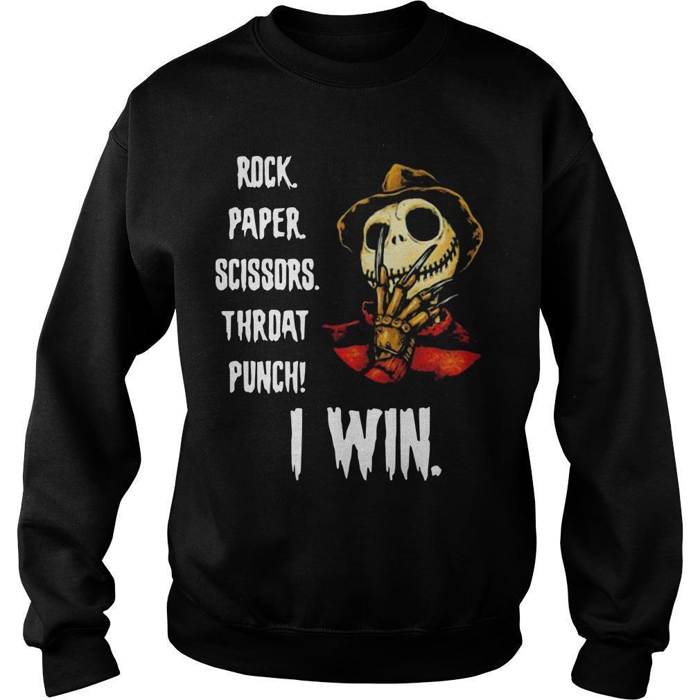 Freddy Krueger Jack Skellington Rock Paper Scissors Throat Punch I Win Sweater