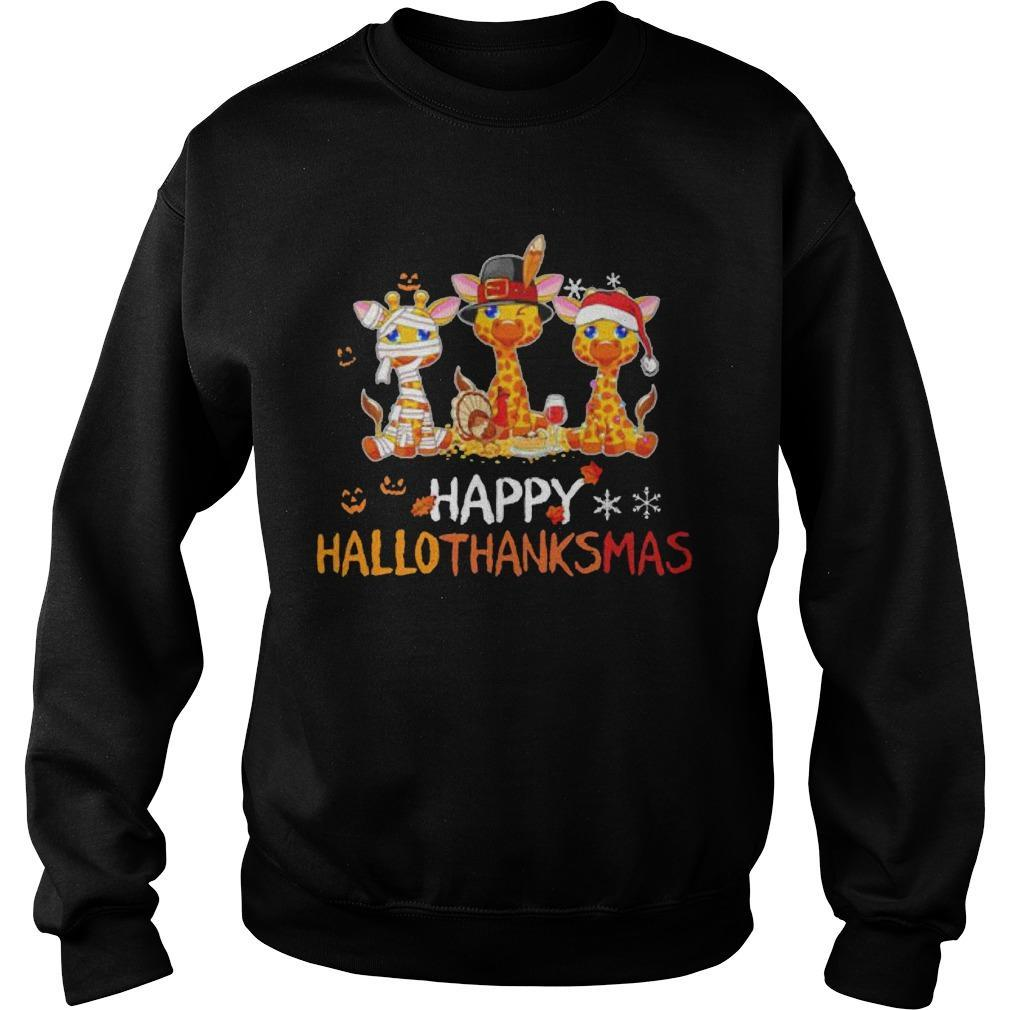 Giraffe Happy Hallothanksmas Sweater