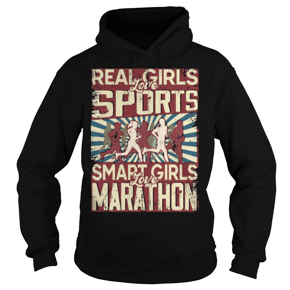 Real Girls Love Sports Smart Girls Love Marathon Hoodie