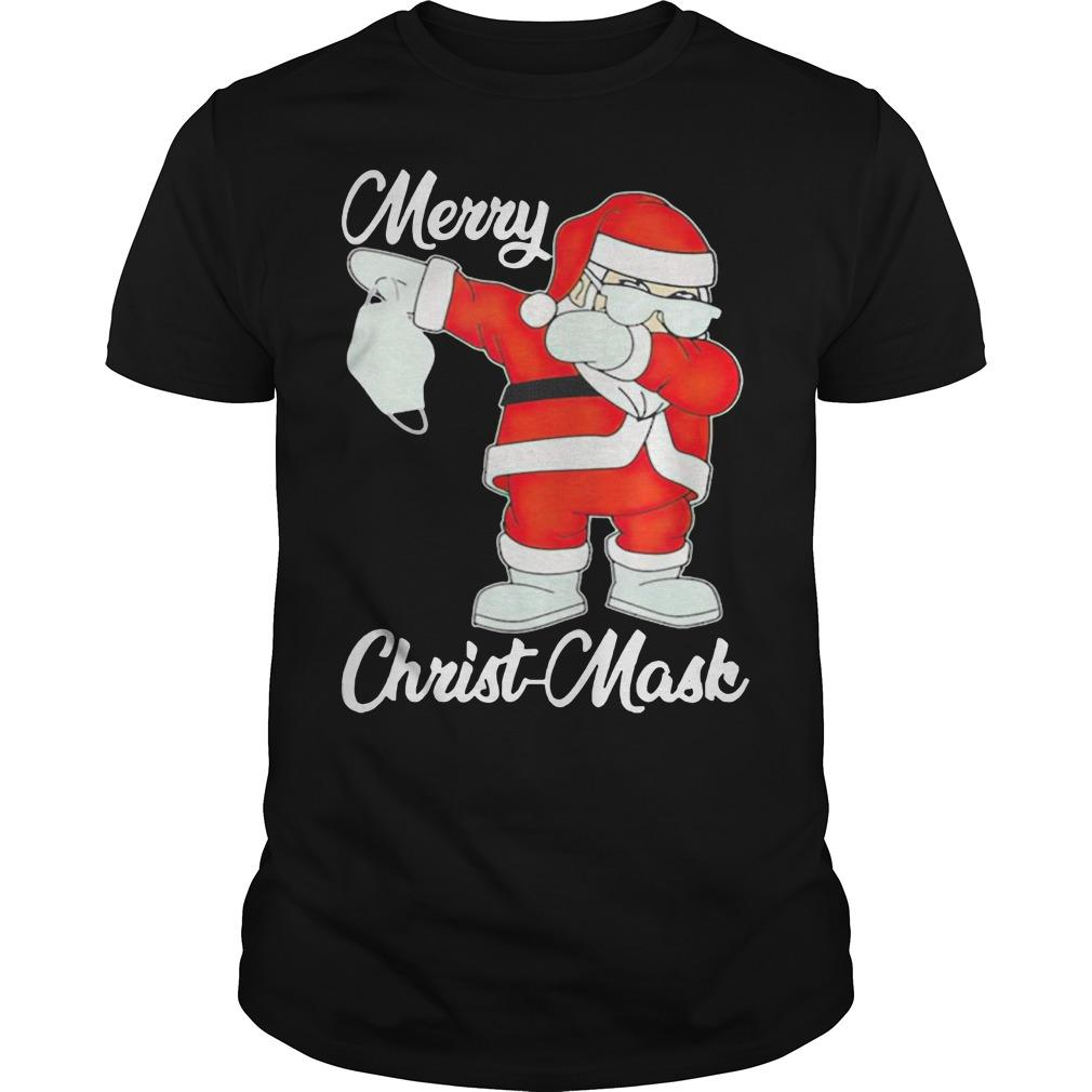 Santa Dabbing Holding Mask Merry Christ Mask Shirt