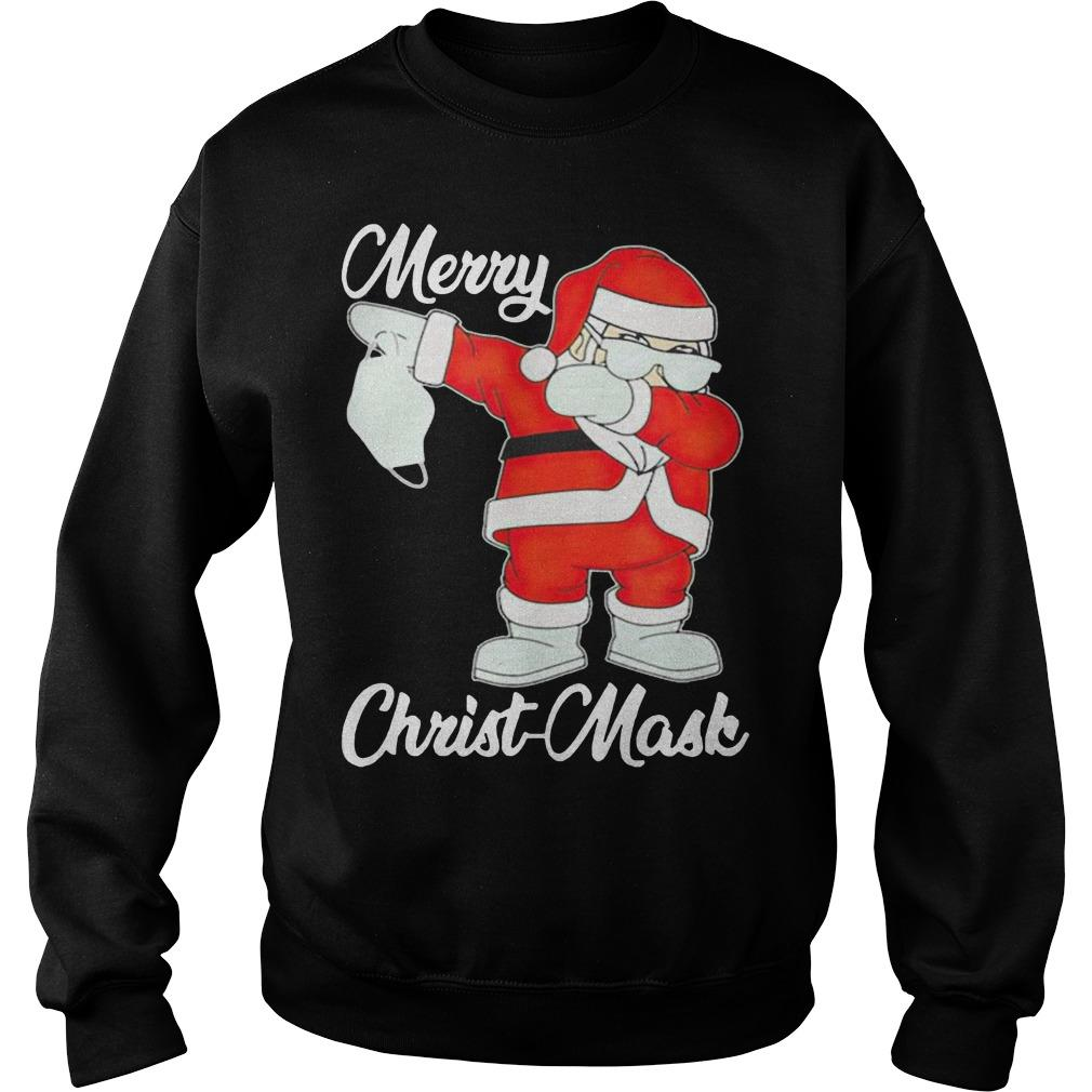 Santa Dabbing Holding Mask Merry Christ Mask Sweater