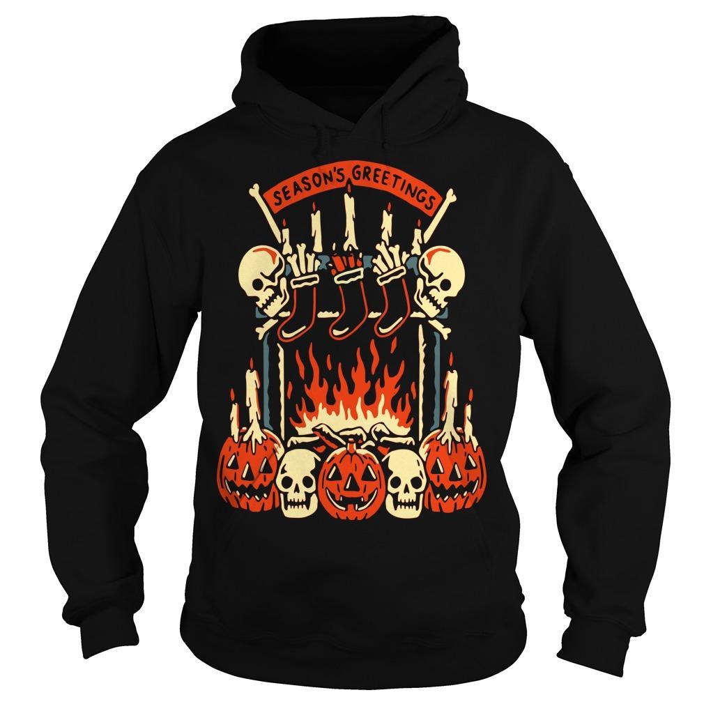 Skull And Pumpkin Season's Greetings Hoodie