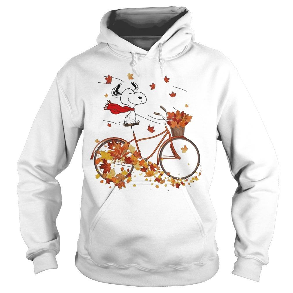Snoopy Riding Bicycle Leaves Map Fall Hoodie