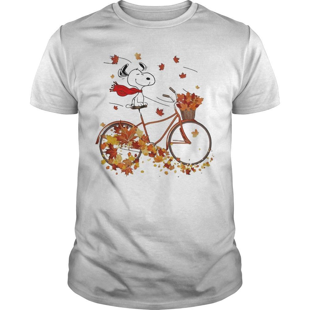 Snoopy Riding Bicycle Leaves Map Fall Shirt
