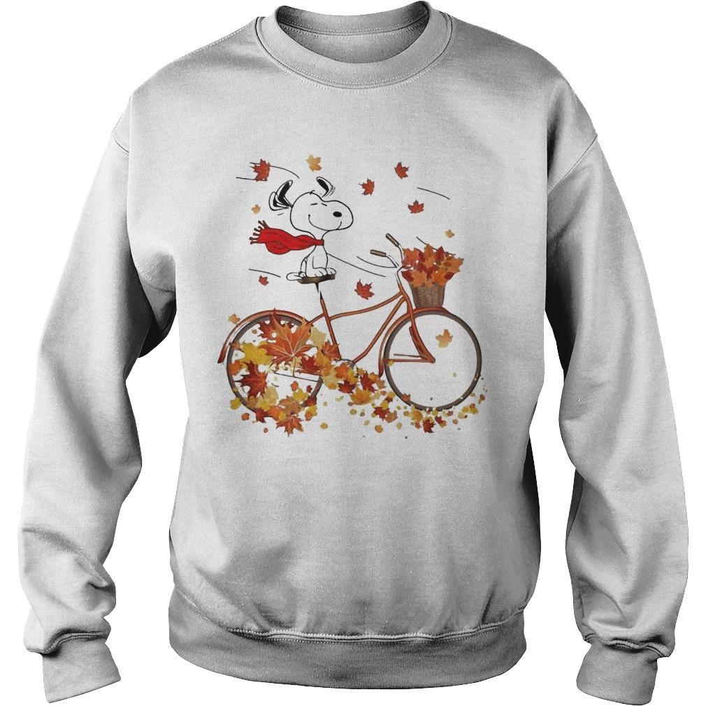 Snoopy Riding Bicycle Leaves Map Fall Sweater