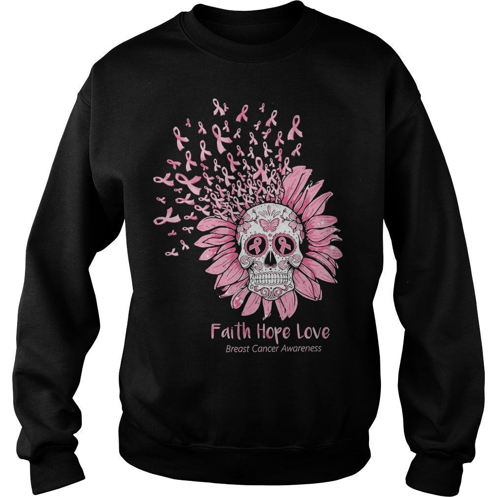 Sugar Skull Faith Hope Love Breast Cancer Awareness Sweater