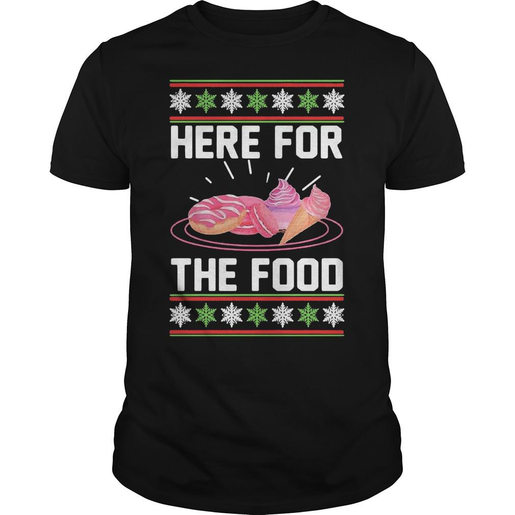 Ugly Christmas Donut Ice Cream Here For The Food Shirt