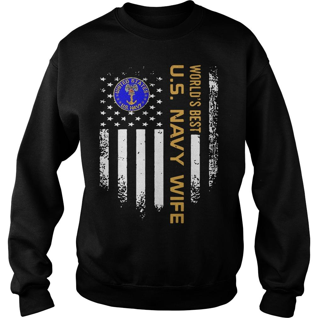 Vintage American Flag World's Best Us Navy Wife Sweater