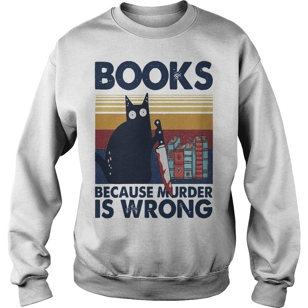 Vintage Black Cat Michael Myers Books Because Murder Is Wrong Sweater