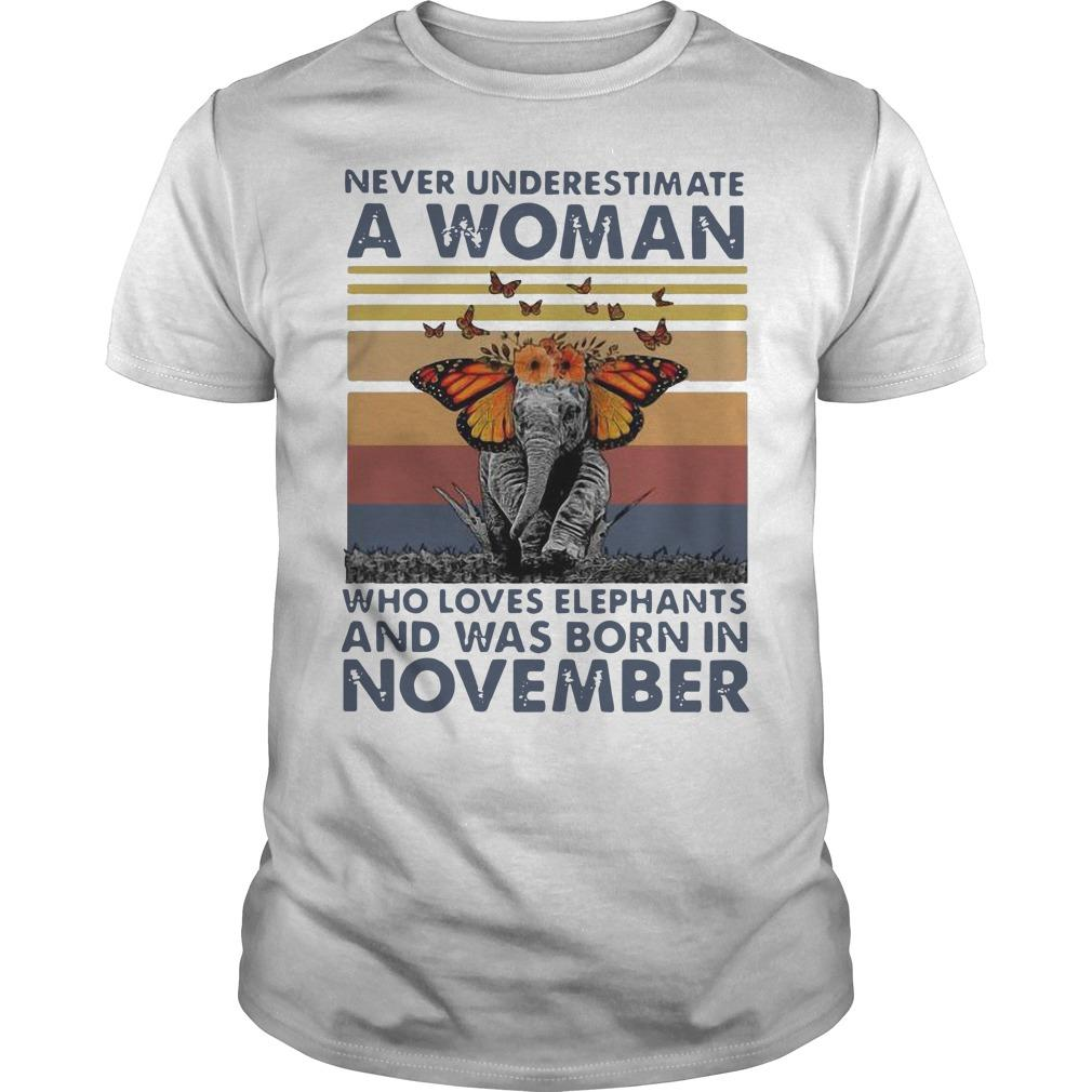 Vintage Butterfly Never Underestimate A Woman Who Loves Elephants Shirt