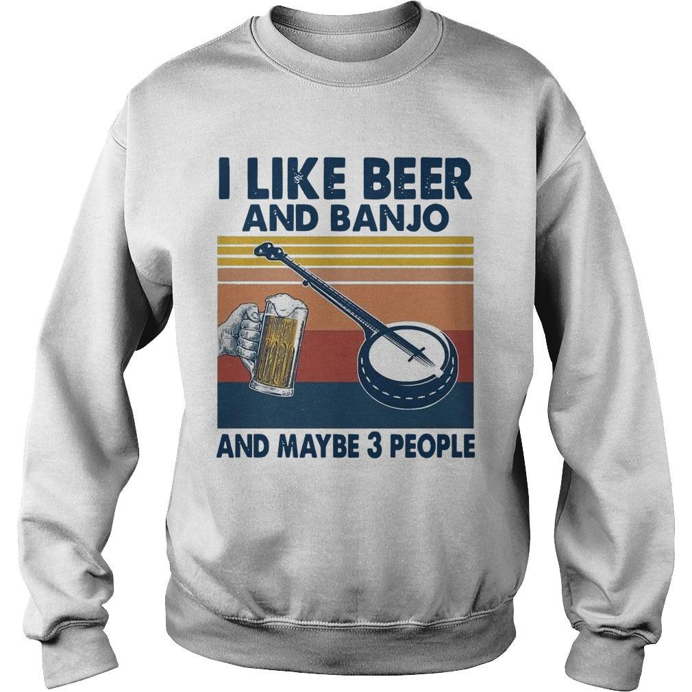 Vintage I Like Beer And Banjo And Maybe 3 People Sweater