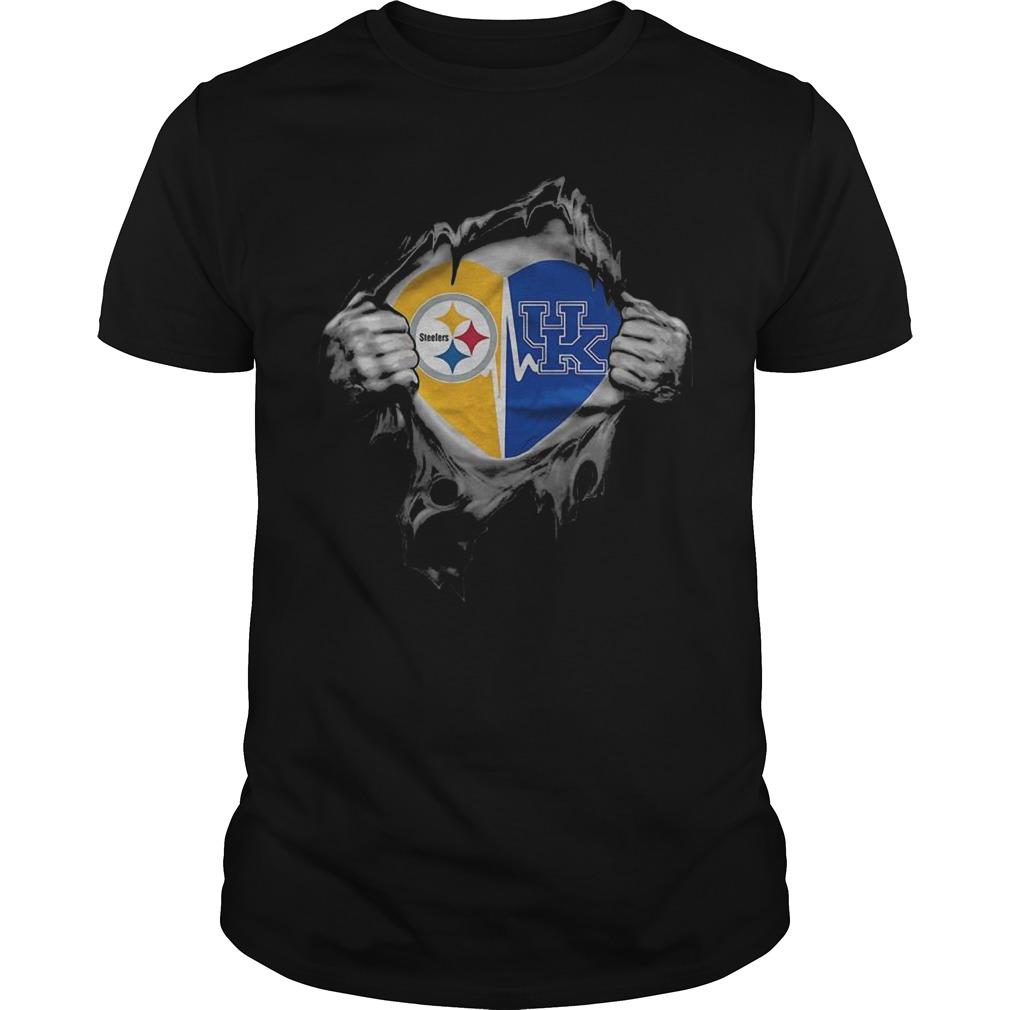 Blood Inside Me Pittsburgh Steelers And Kentucky Wildcats Shirt