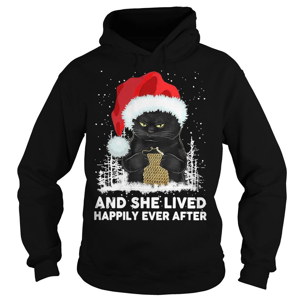 Christmas Black Cat And She Lived Happily Ever After Hoodie