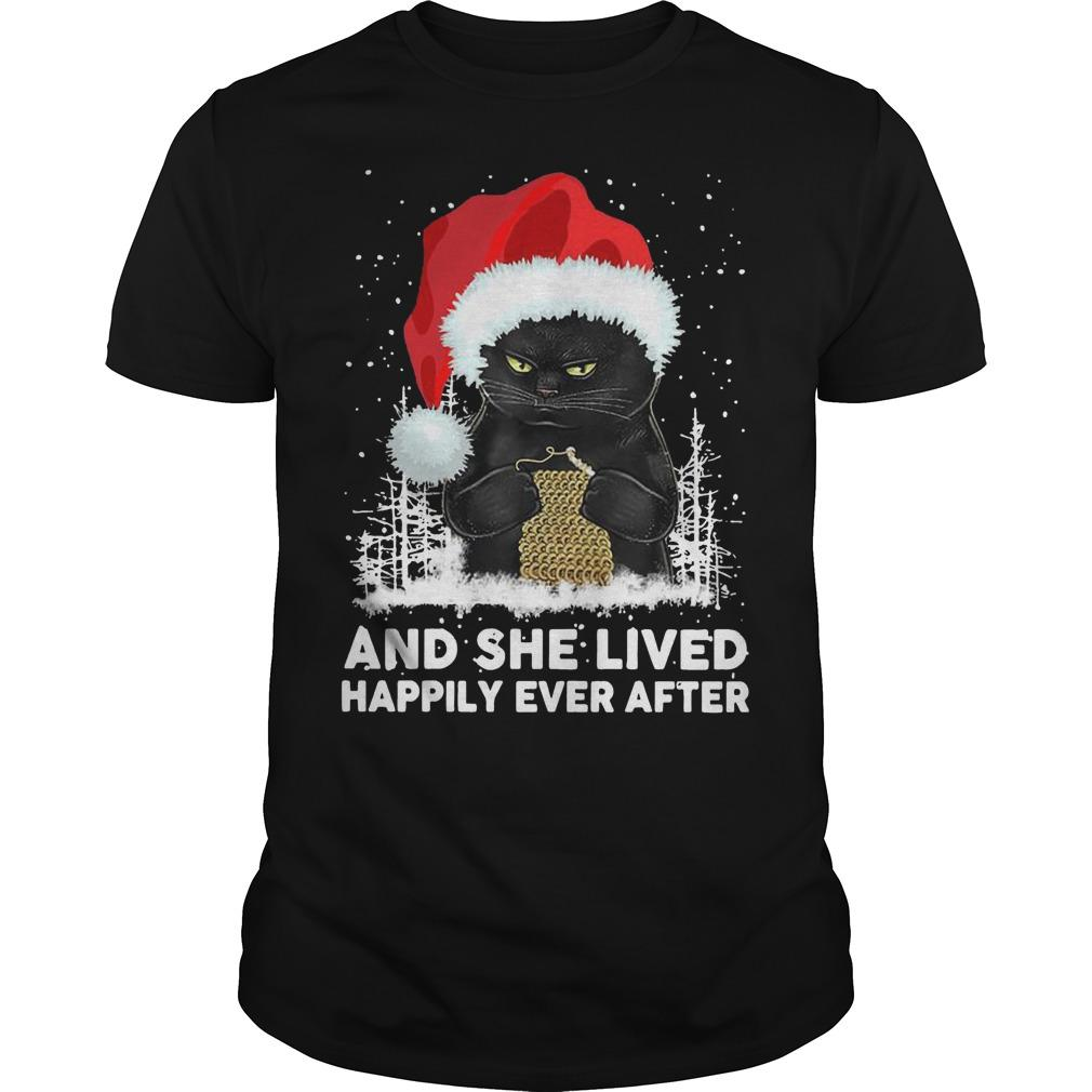 Christmas Black Cat And She Lived Happily Ever After Shirt