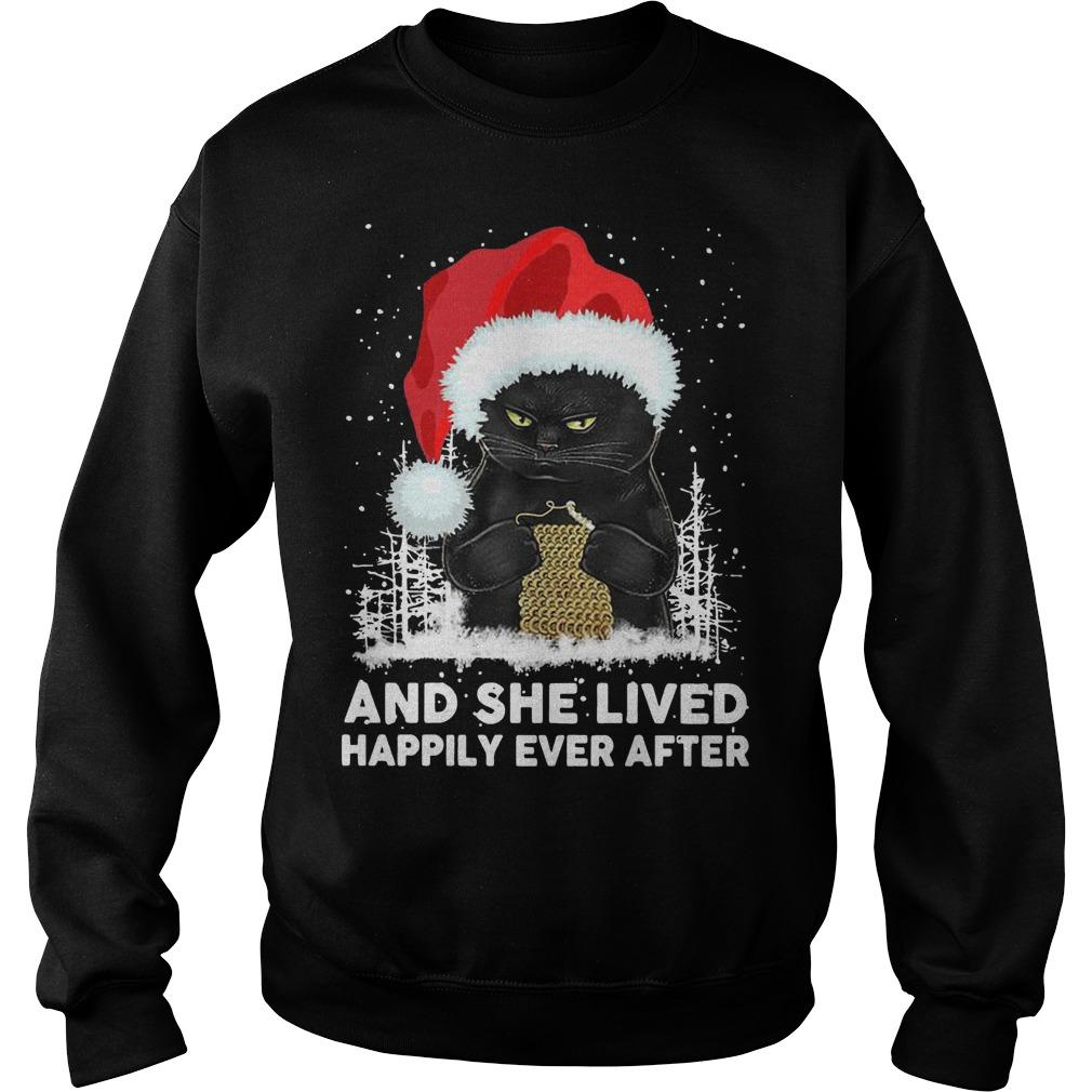 Christmas Black Cat And She Lived Happily Ever After Sweater