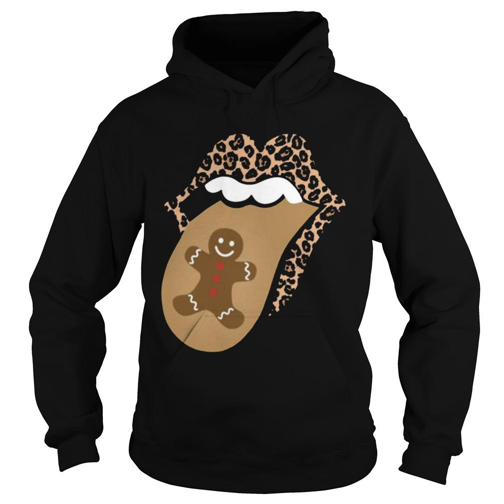 Christmas Lips Mouth Tongue Gingerbread Cookie Man Hoodie