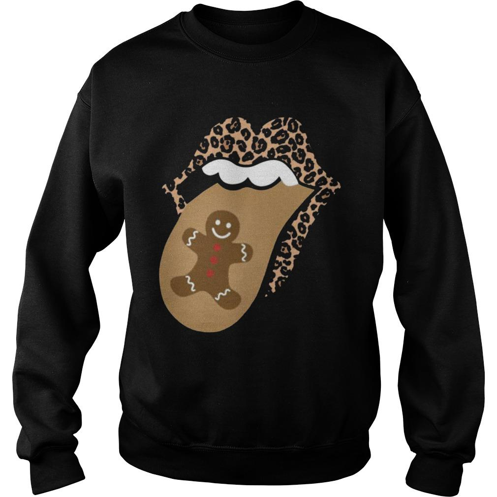 Christmas Lips Mouth Tongue Gingerbread Cookie Man Sweater