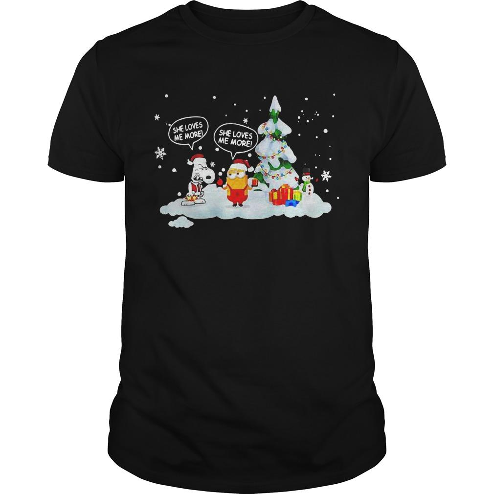Christmas Snoopy And Minions She Loves Me More Shirt