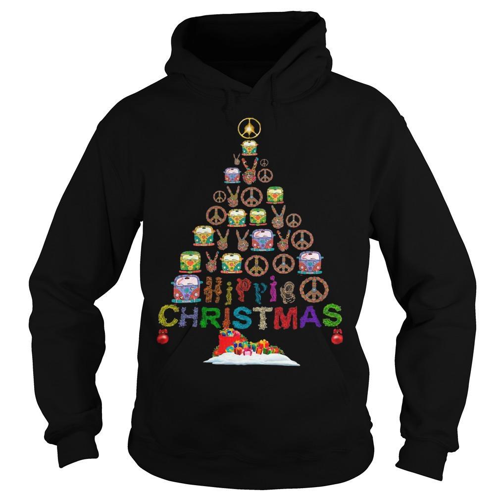 Christmas Tree Peace Bus Hippie Christmas Hoodie