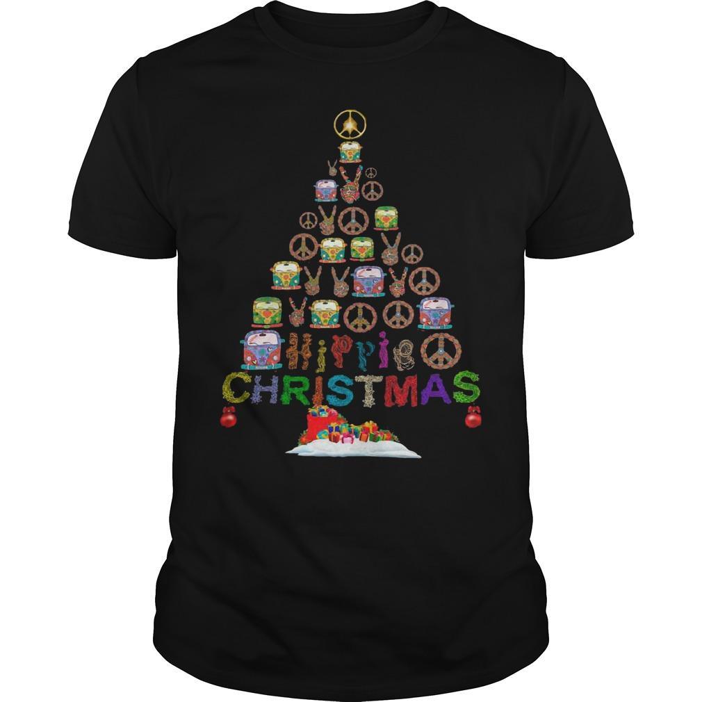 Christmas Tree Peace Bus Hippie Christmas Shirt