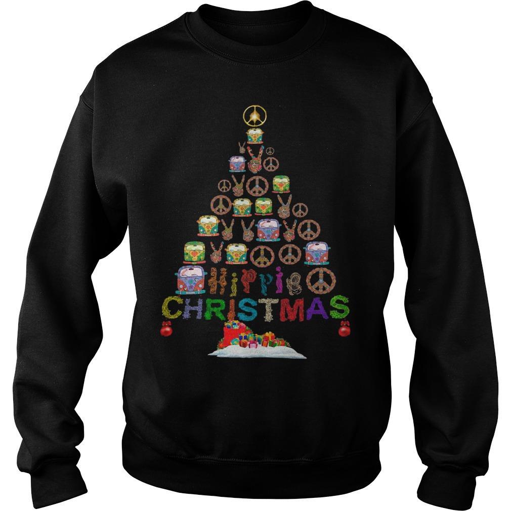Christmas Tree Peace Bus Hippie Christmas Sweater
