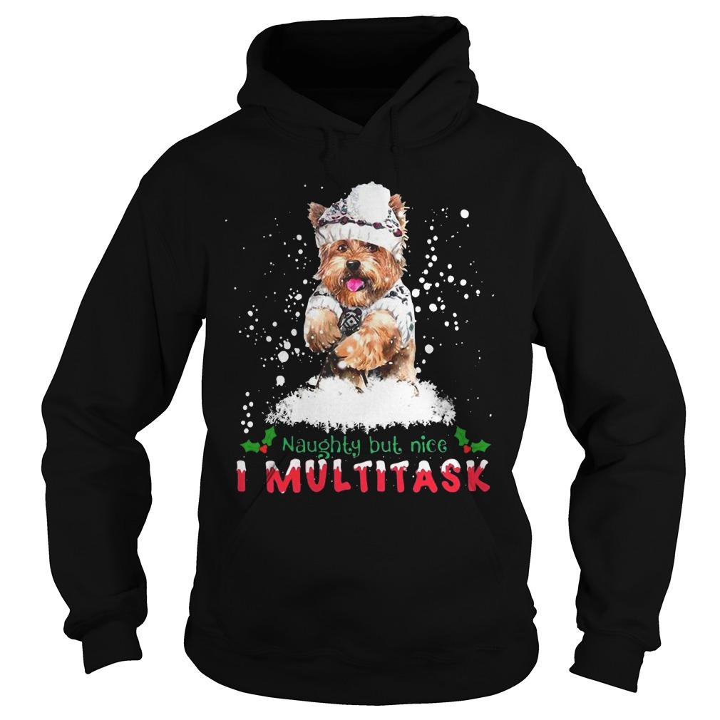 Christmas Yorkie Naughty But Nice I Multitask Hoodie