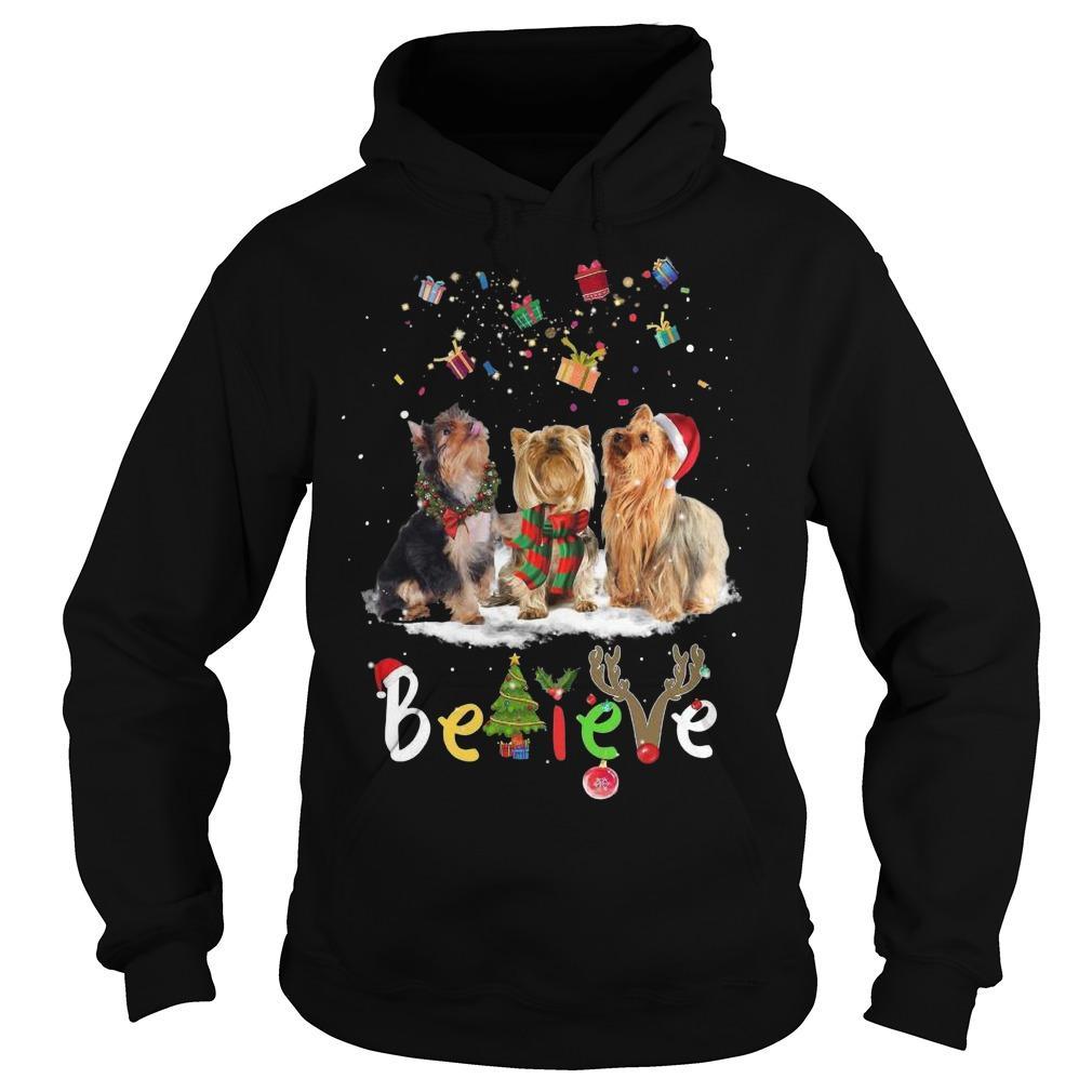 Christmas Yorkshire Terrier Santa Claus Hat Believe Hoodie