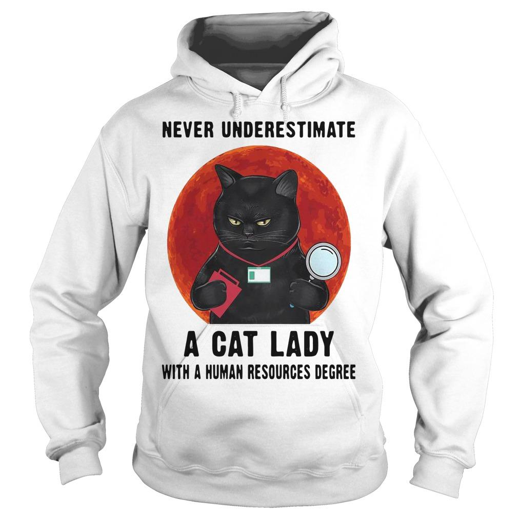 Never Underestimate A Cat Lady With A Human Resources Degree Hoodie
