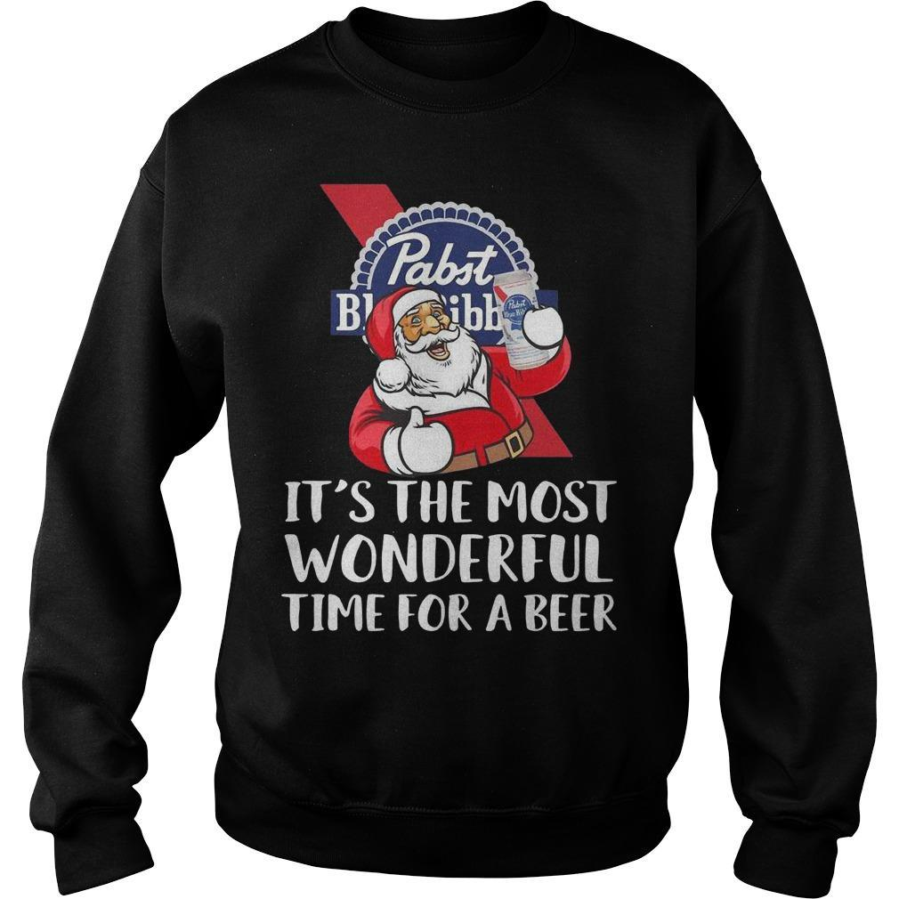 Santa Claus Pabst Blue Ribbon It's The Most Wonderful Time For A Beer Sweater