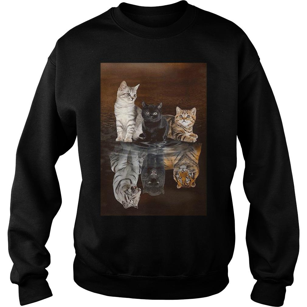 Three Cat Tiger Reflections Sweater