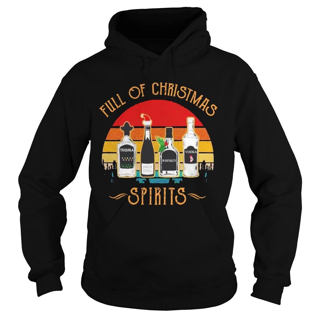 Vintage Wine Full Of Christmas Spirits Hoodie