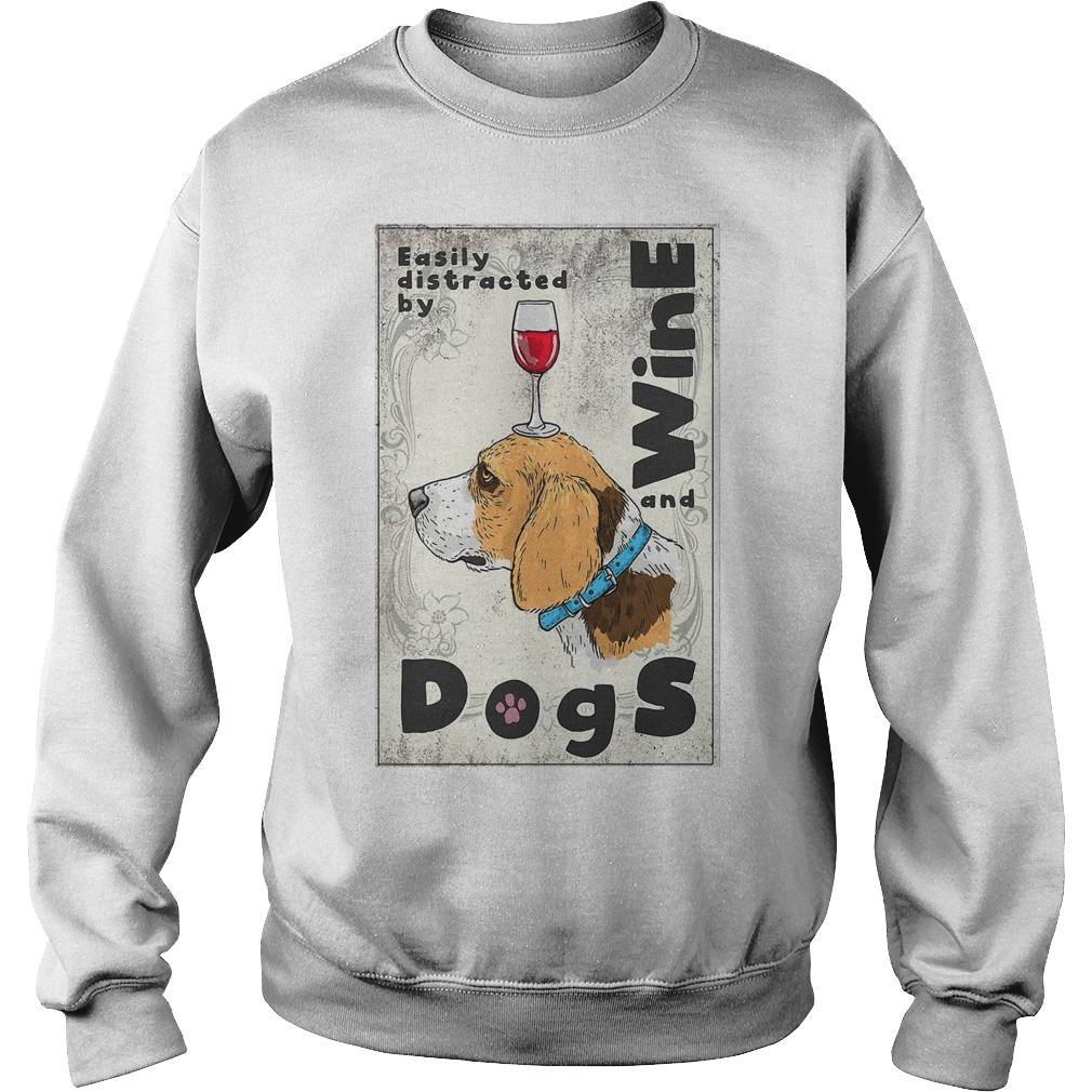 Beagle Easily Distracted By Wine And Dogs Sweater