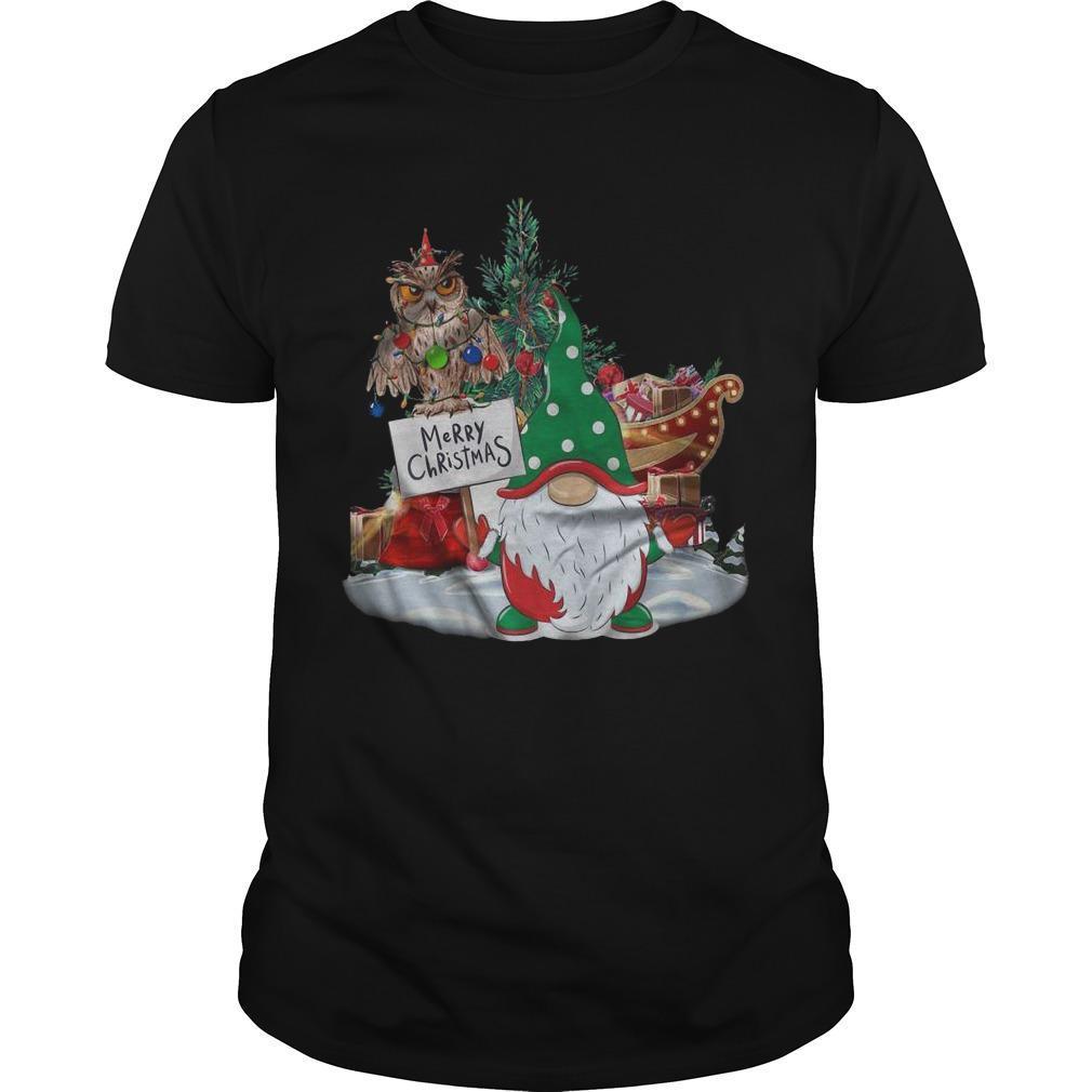 Gnome Owl Light Merry Christmas Shirt