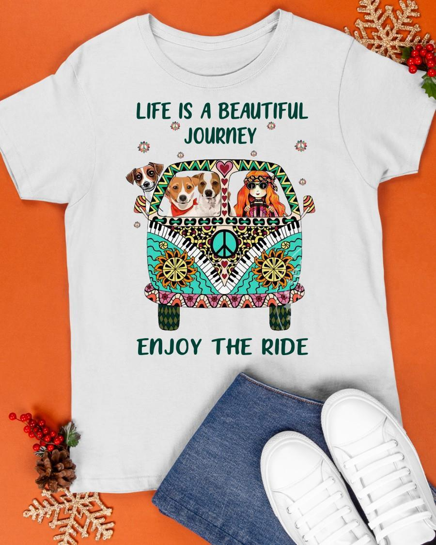 Hippie Bus Girl And Dog Life Is A Beautiful Journey Enjoy The Ride Shirt
