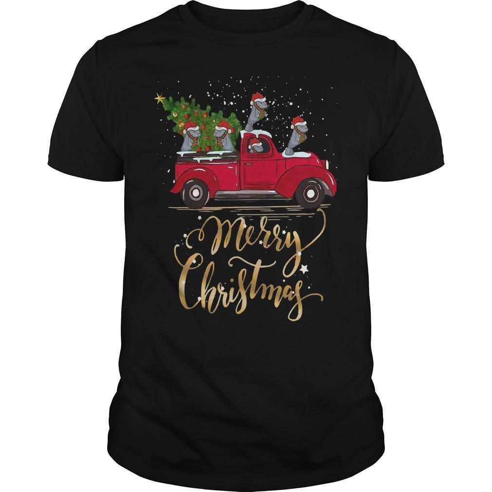 Hippopotamus With Red Truck Tree Merry Christmas Shirt